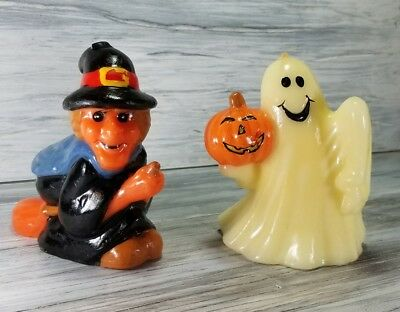 Vintage Lot Of Two Halloween Kitsch Ghost & Witch Figurine Candles Jack-O-Lanter