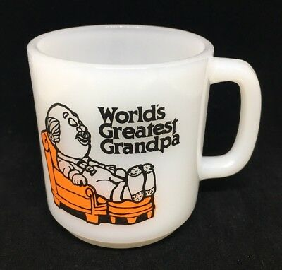 vintage 1978 glasbake worlds greatest grandpa coffee mug cup milk glass