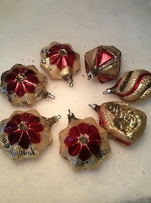 Lot Of 7 Vintage West Germany Christmas Ornaments Red Gold Hand Blown