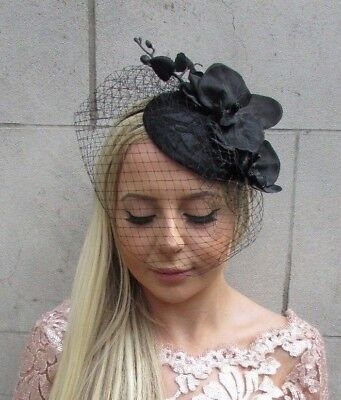 Black Orchid Birdcage Veil Flower Hair Fascinator Hat Races Funeral Wedding 5720