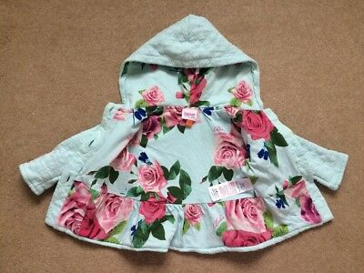 b8f2ae1c2bf6 STUNNING TED BAKER Baby Girls Blue Rose Jacket Coat With Hood Age 3 ...