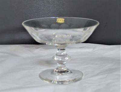 Vintage Val St Lambert 'rivera-Clear' Crystal Cut Panels Footed Compote~Signed