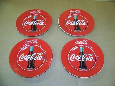 """4 pc Coca Cola 1997 Gibson Red China 7.5"""" Plate set set"""