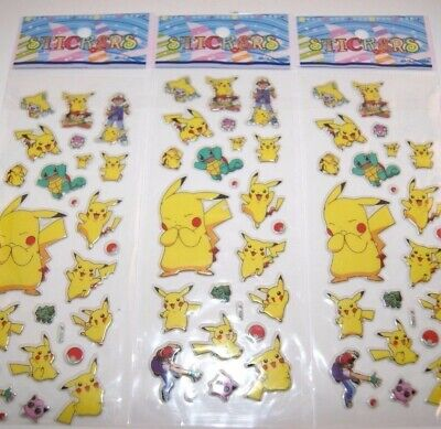 dd 3 Sheets Puffy Japan Anime Pokemon Stickers Pikachu Pocket A - Lot #2