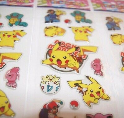 dd 3 Sheets Puffy Japan Anime Pokemon Stickers Pikachu US SHIP - Lot #8