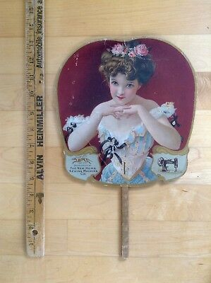Vintage Décolletage Beauty Advertising Fan New Home Sewing Machines, W.H. Cubley