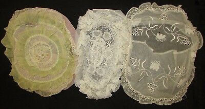 Three Boudoir Pillows, Lace Net W/embroidery, Pleated W/ribbon Center