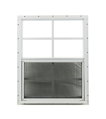 Shed Window 24 x 27 SAFETY GLASS White J-Chann Playhouse Treehouse Chicken Coop