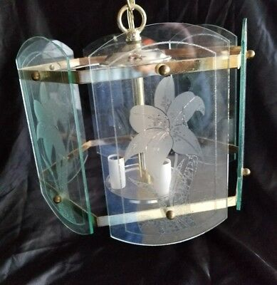 Vtg Brass Hanging Swag  Ceiling Light Fixture Light Lamp Lilly Etched On Glass