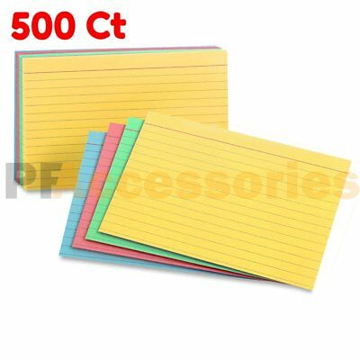 """500 Ct Ruled Front Blank Back Color Index Card Note Cards 3x5"""" inch Pack of 500"""