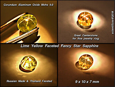 LIME YELLOW Faceted STAR SAPPHIRE VS1 Clarity Mohs 9.0 9 x 10 x 7mm EXCELLENT!