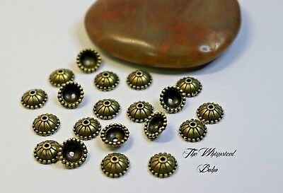 Vintage Bronze Cover End Bead Caps For Jewellery Making x 20
