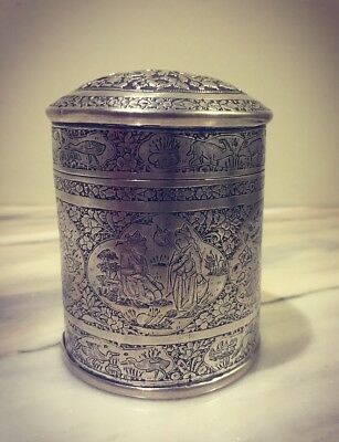 Antique Persian Qajar Hand Chased Solid Silver Lidded Box