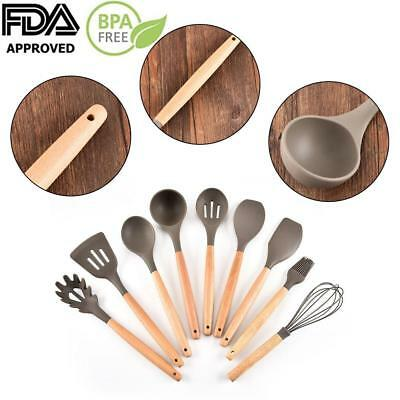 9Pcs Silicone Cooking Utensil Set Wood Handle Baking Spoon Spatulas Kitchen Tool