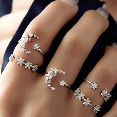 5Pcs Set Bohemia Women Silver Crystal Above Knuckle Finger Ring Band Midi Rings