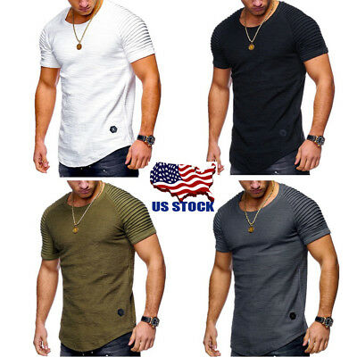 Mens Muscle Short Sleeve Round Neck Summer Casual Slim Fit T-Shirt Tops M-2XL US