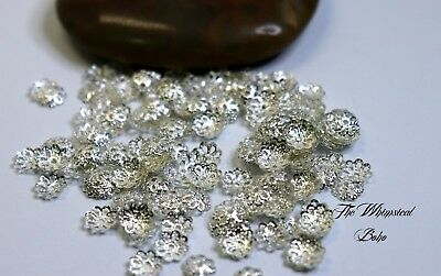 200 Silver Plated Hollow Flower End Beads Caps 7mm For Jewellery Making