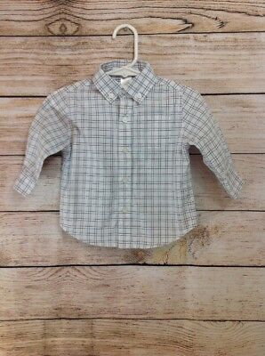 Janie and Jack Baby Boys Plaid Button Up Shirt Size 6-12 Months Long Sleeve