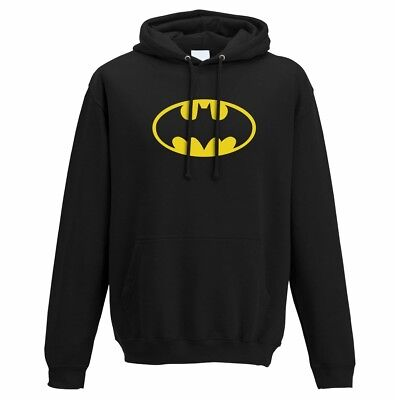 OFFICIAL DC Comics Batman Logo Symbol Black Mens Hoodie Jumper (NEW)