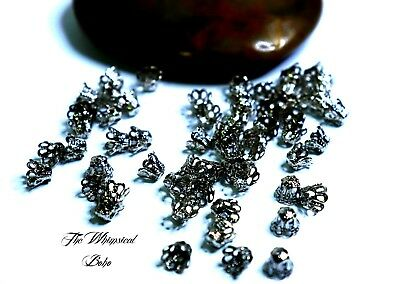 Filigree Flower Cup Shape Silver Bead Caps for Jewelry Making x 60