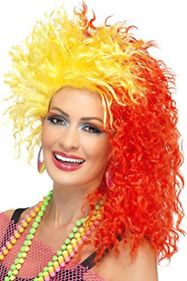 80s Fun Girl Crimp Wig, Red & Yellow  (US IMPORT)  AC NEW