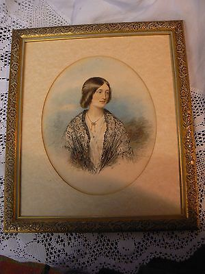 Gorgous 19Th Century Portrait Watercolour  On Paper In Later  Frame