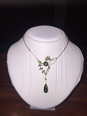 An Antique (Victorian) Green Tourmaline & Seed Pearl Necklace in 15K Yellow Gold