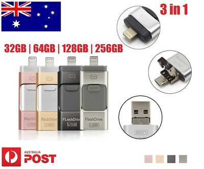 256/128/64/32GB 3 in 1 OTG iFlash Memory USB Disk Drive Thumb For iPhone Android