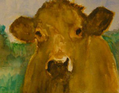 """""""How Now, Brown Cow"""" Original Hand Painted Watercolour on Quality paper"""