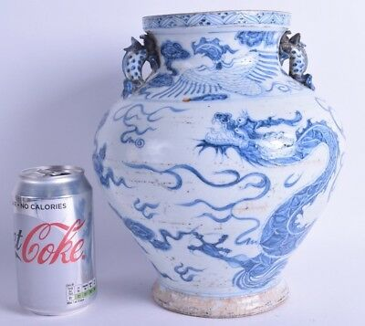 good large chinese blue and white porcelain twin handled vase painted dragon