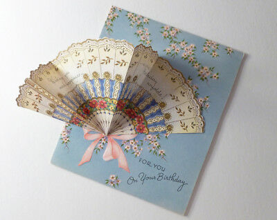BIRTHDAY Card c 1940 Mechanical Fold Out FAN Die Cut & Flowers WALLACE BROWN Pub