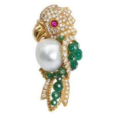 925 Sterling Silver Cz White Round Pearl Parrot Style Women Brooch Pin Niki Gems