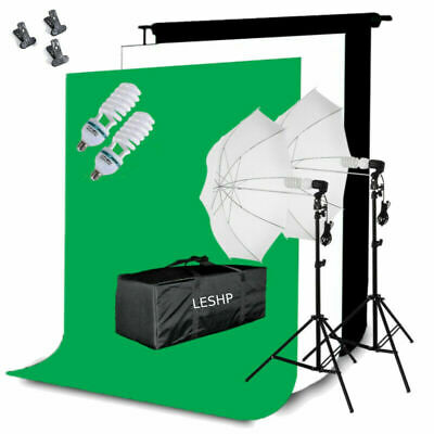 Photography Studio Backdrop Softbox Umbrella Lighting Kit Background Stand Set B