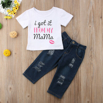USA Seller Kids Baby Girls Toddler Cotton T-shirt Tops Clothes+Pants Outfit Set