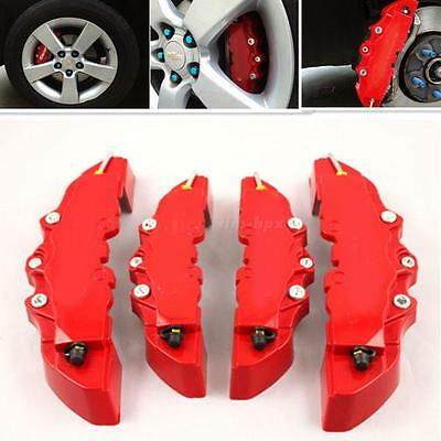 4x Red 3D Style Car Universal Disc Brake Caliper Covers Front & Rear Top