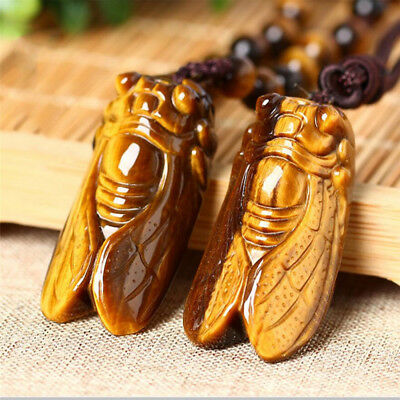 Natural Tiger's-Eye Stone Hand Carved Chinese Cicada Gems Charm Pendant Necklace