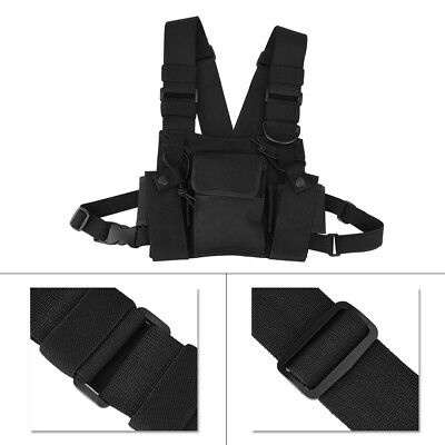 Nylon Radio Chest Harness Front Pack Pouch Holster for Two Way Walkie Talkie SG