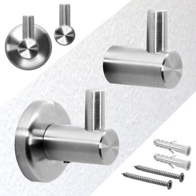 1/3/5PCS  Stainless Steel Round Wall Mount Towel Robe Hook Door Hanger New