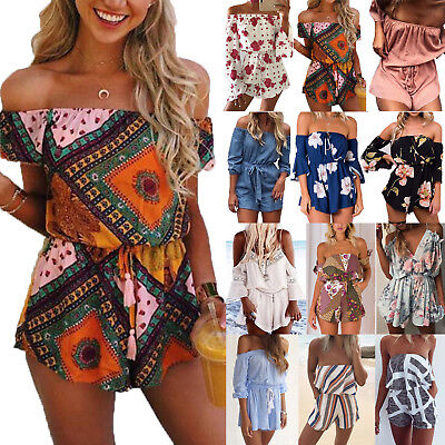 Celeb Women Holiday Playsuit Off Shoulder Jumpsuit Shorts Rompers Beach Sundress