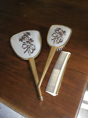 Vintage  Brush Mirror And Comb  Set