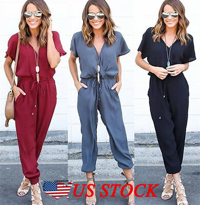 afd8b930b46 Womens Slim V Neck Evening Party Playsuit Ladies Romper Long Jumpsuit Size