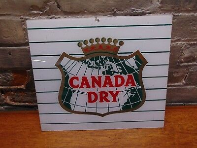 "Vintage & Original ~Canada Dry Cola~13 1/8"" x 11.5""~Soda Machine Sign~Ships Free"