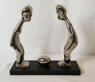 Mid Century Abstract Silver Plate Over Ceramic Sculpture Simplistic Modern