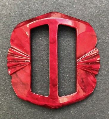 Exciting Ruby Red 1940s Galalith / Casein 4.5cm Belt Buckle - Unused Old Shop St