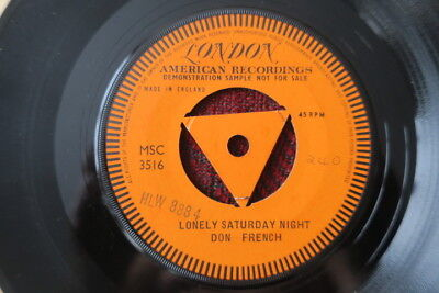 Don French ~ Lonely Saturday Night 1959 `rare`one Sided London Promo Vinyl Ex