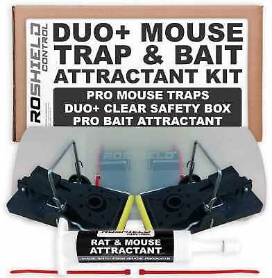 Roshield Duo+ Mouse Trap Box - Pro Mice Killer Control Kit with Bait Attractant