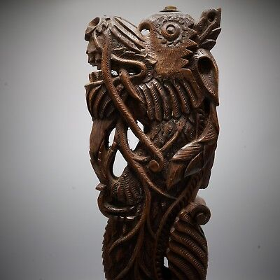 19th Century - FINE Large Asian Mythical DRAGON Wood ANTIQUE Sculpture Chinese ?