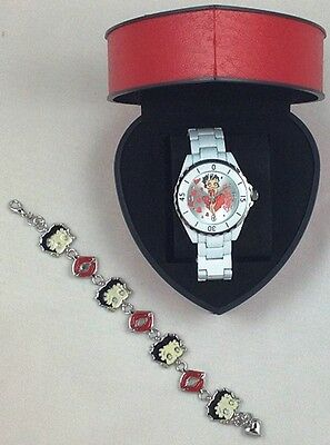 Betty Boop Watch And Bracelet Set White Band Hearts Red Heart Gift Box NEW