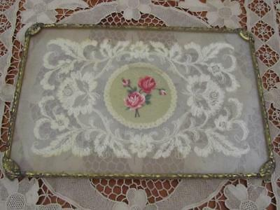 Vintage Dressing Table Vanity Tray Filigree Gold Petite Point Roses In Glass
