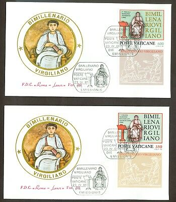 Vatican City Sc# 685-6: Virgil with Tab on 2 FDC